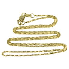 """14K 1.2mm Curb Chain Fancy Link Fashion Necklace 15.75"""" Yellow Gold  [QWQQ]"""