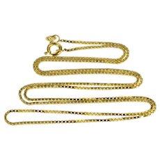 """10K 1.1mm Square Box Link Fashion Chain Necklace 22"""" Yellow Gold  [QRXK]"""