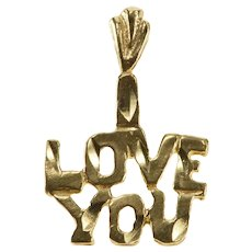 14K I Love You Romantic Gift Anniversary Word Pendant Yellow Gold  [QRXK]