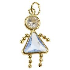 7f0f3aeec Arnold Jewelers. $72 USD SALE. 14K Birthstone Baby Girl December Blue Topaz  Charm/Pendant Yellow Gold [QWQQ]