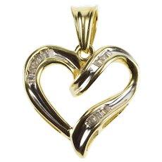 10K Channel Set Baguette Diamond Heart Anniversary Pendant Yellow Gold  [QWQQ]