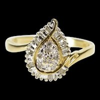 10K Pear Diamond Tiered Cluster Freeform Bypass Ring Size 7 Yellow Gold [QRXR]