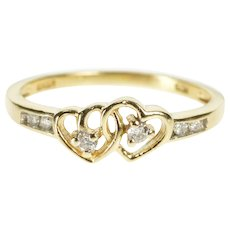 10K Interlocking Heart Diamond Promise Anniversary Ring Size 5 Yellow Gold [QWQQ]