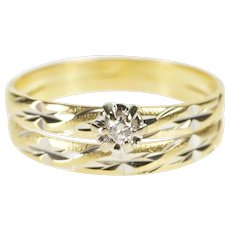 14K Retro Diamond Solitaire Engagement Bridal Set Ring Size 7.75 Yellow Gold [QWQQ]