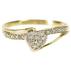 10K Diamond Encrusted Heart Anniversary Promise Ring Size 8.5 Yellow Gold [QWQQ]
