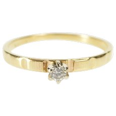 14K Round Diamond Solitaire Retro Promise Ring Size 7 Yellow Gold [QWQQ]