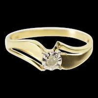 10K Retro Diamond Solitaire Freeform Promise Ring Size 6.75 Yellow Gold [QRXR]