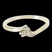 14K Three Diamond Cluster Cute Freeform Band Ring Size 6.75 White Gold [QRXR]