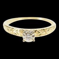 14K Retro Diamond Solitaire Floral Promise Ring Size 6.75 Yellow Gold [QRXR]