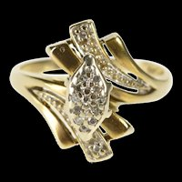 10K Ornate Marquise Diamond Cluster Freeform Ring Size 6.25 Yellow Gold [QRXR]