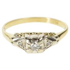 14K Retro Three Stone Diamond Inset Promise Ring Size 7.25 Yellow Gold [QWQQ]