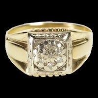 14K Two Tone Ornate Square Cluster Men's Wedding Ring Size 10.75 Yellow Gold [QRXR]