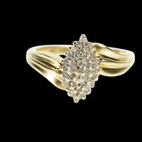 10K Pear Oval Diamond Cluster Freeform Bypass Ring Size 7 Yellow Gold [QRXR]