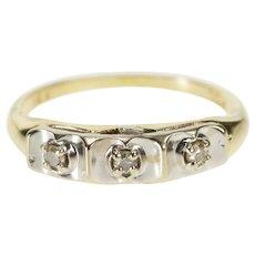 14K Three Stone Retro Diamond Wedding Band Ring Size 4.5 Yellow Gold [QWQQ]