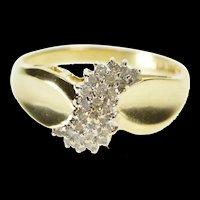 10K Diamond Wavy Cluster Encrusted Freeform Ring Size 9 Yellow Gold [QRXR]