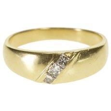 14K Princess Cut Diamond Inset Wedding Band Ring Size 8.75 Yellow Gold [QRXK]