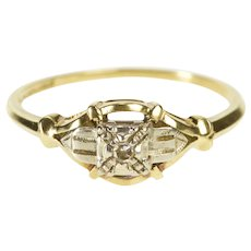 14K Ornate Retro Diamond Solitaire Promise Ring Size 7.25 Yellow Gold [QWQQ]