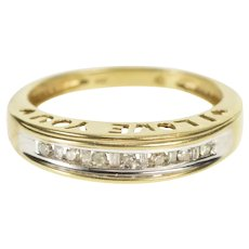 10K Channel Diamond I Love You Anniverary Band Ring Size 7 Yellow Gold [QRXK]