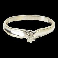 10K Round Brilliant Cut Diamond Solitaire Promise Ring Size 8.25 White Gold [QRXR]