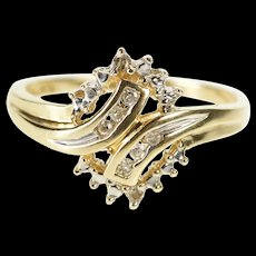 10K Diamond Encrusted Freeform Cluster Fashion Ring Size 7 Yellow Gold [QRXR]