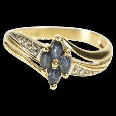 10K Marquise Sapphire Cluster Diamond Accent Ring Size 6.5 Yellow Gold [QRXR]