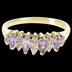 10K 0.34 Ctw Marquise Amethyst Diamond Band Ring Size 6.75 Yellow Gold [QRXR]