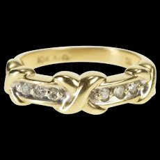 10K Diamond Inset XO Hugs & Kisses Wedding Band Ring Size 6.75 Yellow Gold [QRXR]