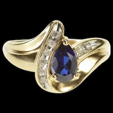 10K Pear Syn. Sapphire Diamond Accent Freeform Ring Size 8 Yellow Gold [QRXR]