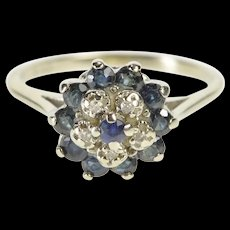 10K 0.71 Ctw Round Diamond Sapphire Cocktail Ring Size 5.75 Yellow Gold [QRXR]