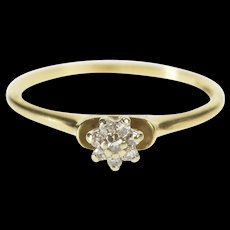 10K Floral Diamond Cluster Promise Engagement Ring Size 6.25 Yellow Gold [QRXR]