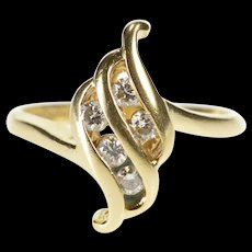 14K Diamond Inset Tiered Wave Ornate Fashion Ring Size 3.75 Yellow Gold [QRXR]
