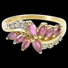 10K 2.04 Ctw Marquise Ruby Diamond Accent Bypass Ring Size 8.5 Yellow Gold [QRXR]