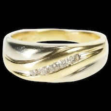 14K Two Tone Men's Diamond Wedding Band Ring Size 9 White Gold [QRXR]