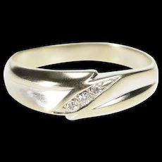 14K Retro Diamond Inset Men's Wedding Band Ring Size 11.25 White Gold [QRXR]