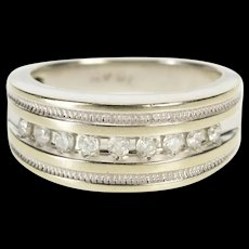 10K Diamond Channel Inset Ornate Wedding Band Ring Size 5.75 White Gold [QRXR]