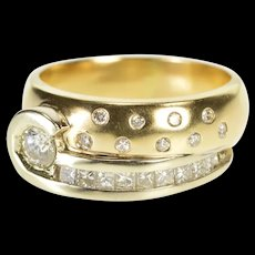 14K Ornate Diamond Encrusted Swirl Band Fashion Ring Size 7.75 Yellow Gold [QRXR]
