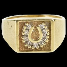 10K Squared Diamond Horseshoe Lucky Signet Ring Size 9.75 Yellow Gold [QRXR]