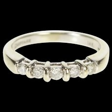 14K Five Stone Diamond Classic Wedding Band Ring Size 6.5 White Gold [QRXR]