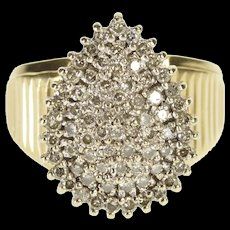 10K Pear Tear Drop Diamond Cluster Cocktail Ring Size 6.75 Yellow Gold [QRXR]