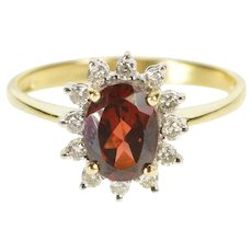 14K Oval Garnet Diamond Halo Ornate Engagement Ring Size 7.75 Yellow Gold [QWQQ]