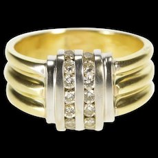 10K Diamond Vertical Channel Ornate Fashion Ring Size 8.25 Yellow Gold [QRXR]