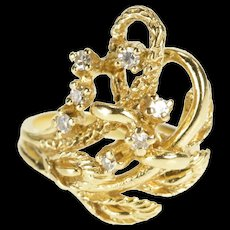 14K Retro Floral Calla Lily Diamond Inset Cocktail Ring Size 3 Yellow Gold [QRXR]