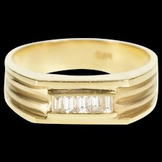 14K Ornate Emerald Cut Diamond Squared Band Ring Size 9.75 Yellow Gold [QRXR]