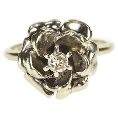14K 1940's Diamond Solitaire Flower Rose Cocktail Ring Size 5.5 White Gold [QWQQ]