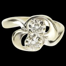 14K Retro Ornate Two Stone Freeform Curvy Ring Size 3.5 White Gold [QRXR]
