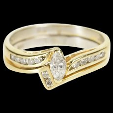 14K Marquise Diamond Bridal Set Engagement Ring Size 6.25 Yellow Gold [QRXR]