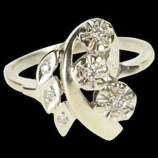 14K Diamond Inset Floral Leaf Design Cocktail Ring Size 8.5 White Gold [QRXR]