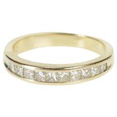 14K 0.50 Ctw Princess Cut Diamond Wedding Band Ring Size 5.25 White Gold [QWQQ]