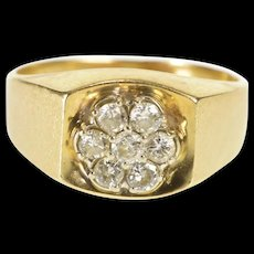 14K 0.42 Ctw Diamond Floral Cluster Squared Design Ring Size 8 Yellow Gold [QRXR]