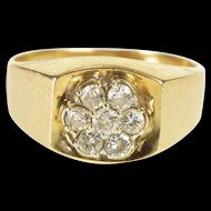14K 0.42 Ctw Diamond Floral Cluster Squared Design Ring Size 8 Yellow Gold [QRXS]